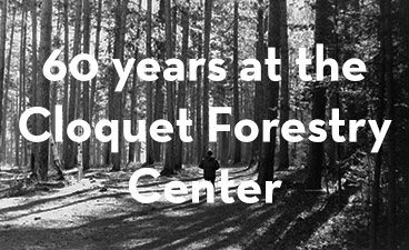 "black and white photo of forests with text overlay of ""60 years at the Cloquet Forestry Center"""